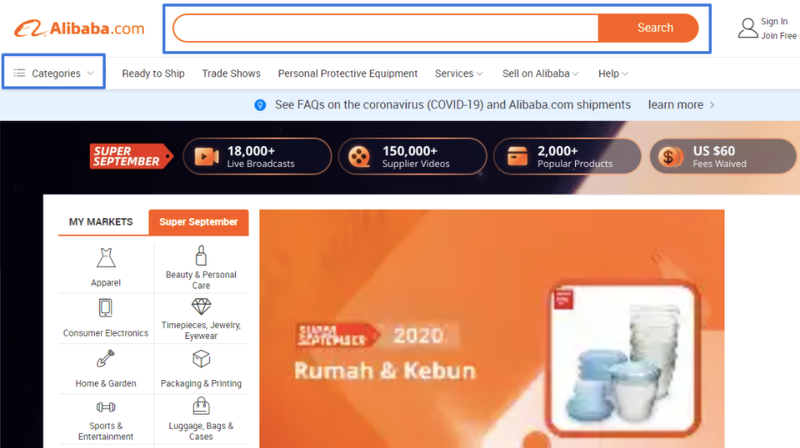 An image showing the Alibaba homepage, the search bar, navigation menu, exclusive offers for September, and other features.