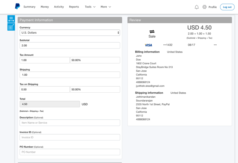 PayPal's Virtual Terminal