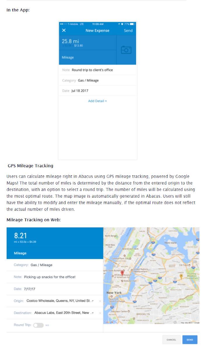 Abacus's GPS mileage tracking screen with a map