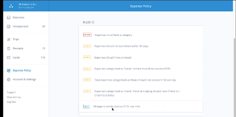 A screenshot of Abacus's Expense Policy feature displaying current rules