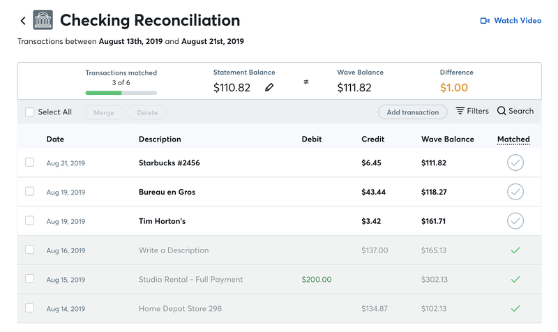 Checking the reconciliation screen in Wave Accounting displays all debits and credits for the month.