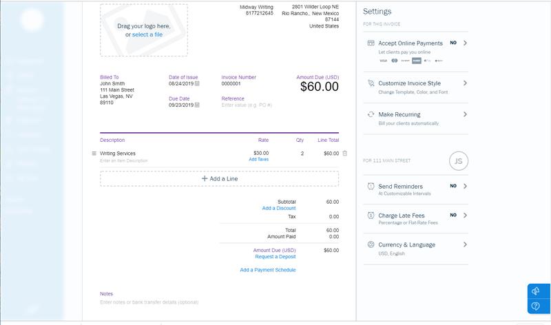 Invoice Example Screenshot