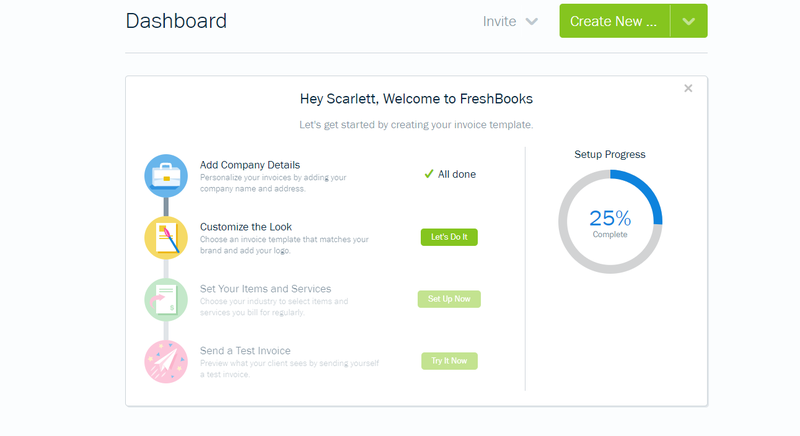 FreshBooks accounting software home page with pie chart of set up progress