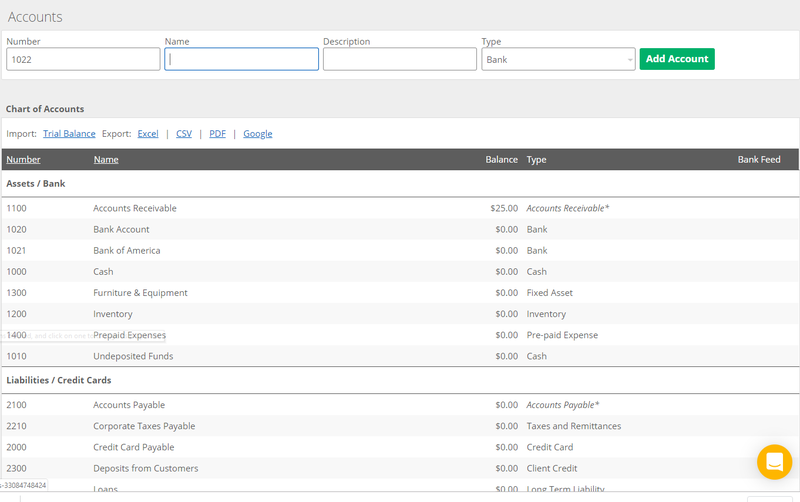 Kashoo accounting software default chart of accounts screen