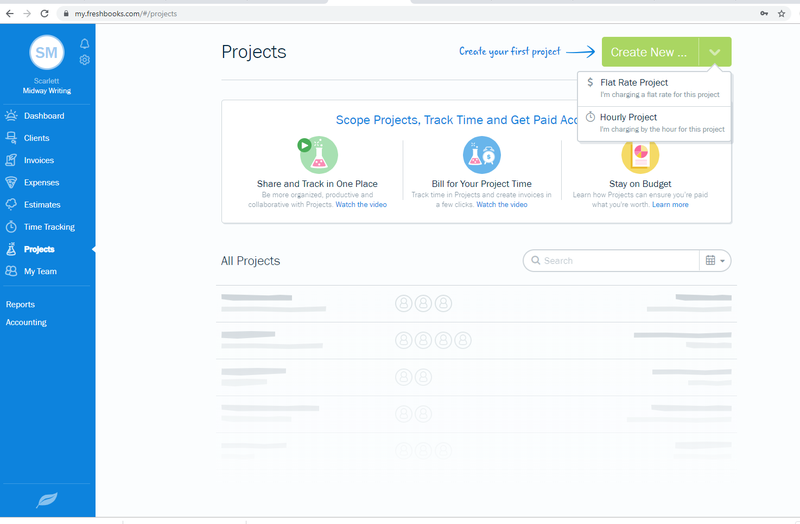 FreshBooks project options