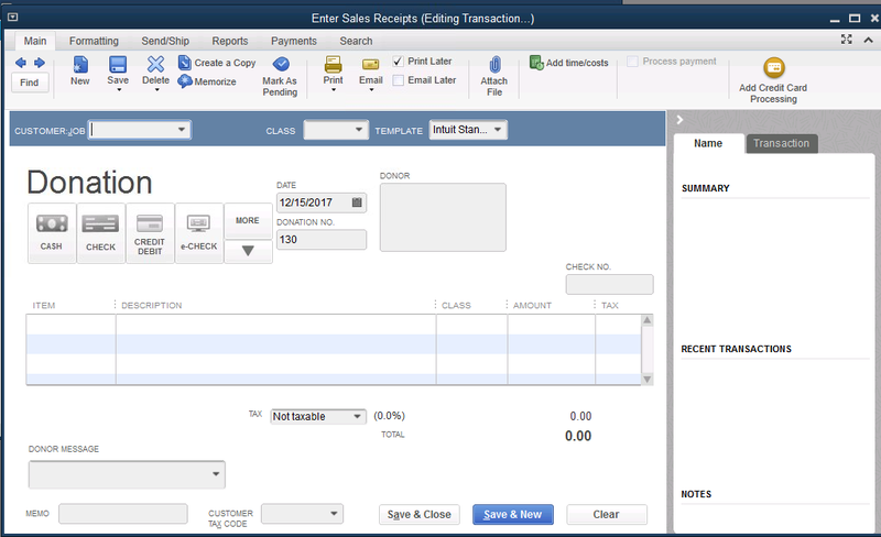 QuickBooks Desktop Donation Tracking