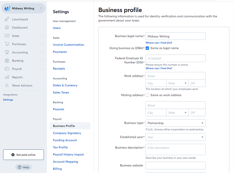 Accounting by Wave business profile settings