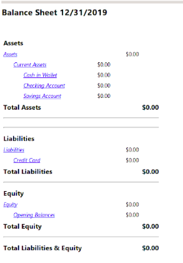 Gnucash balance sheet showing assets, liabilities, and equity.