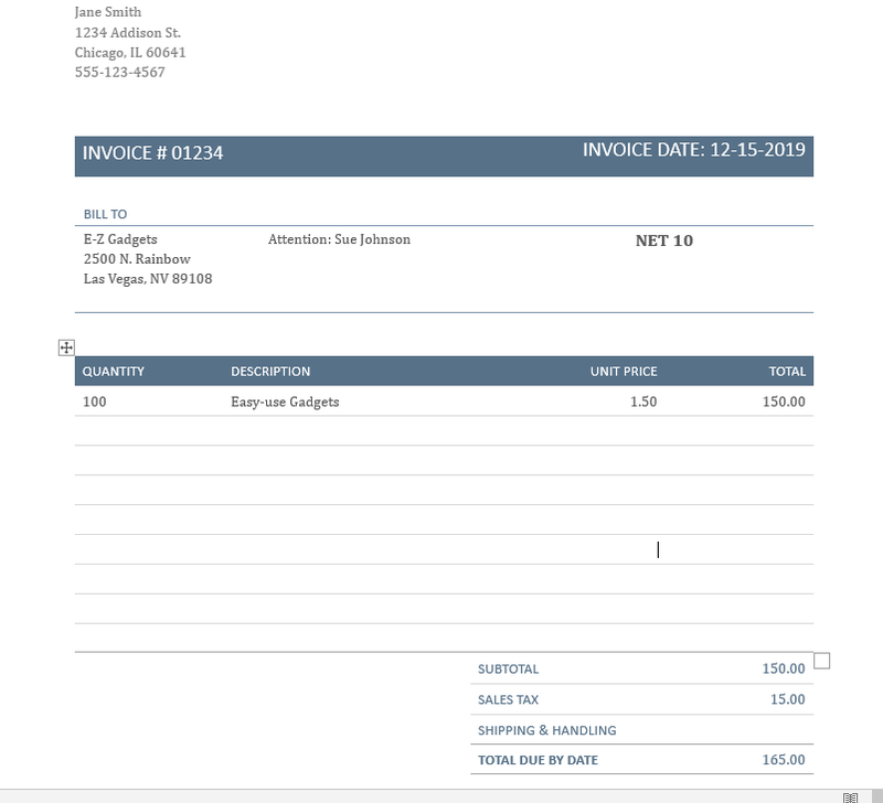 Sample invoice showing billing information and quantity, description, and total cost.