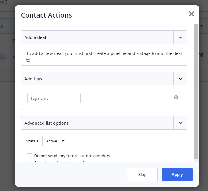 ActiveCampaign Getting Started Screen