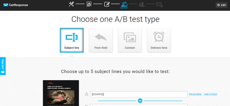 The GetResponse A/B testing interface allows four types of tests — subject line, email from field, content, and delivery time — and will test up to five email subject lines at once.