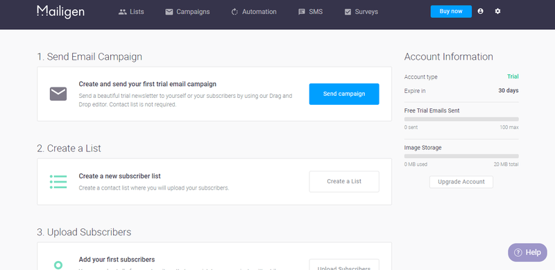 The Mailigen dashboard walks users through numbered steps to create and send each email campaign.