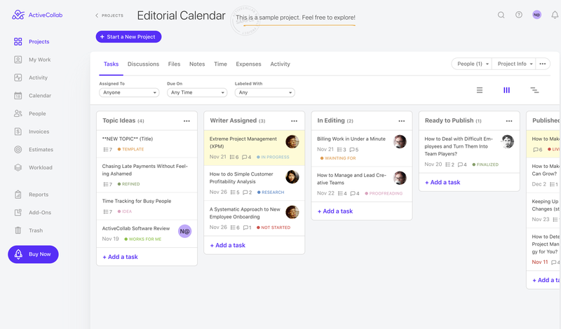 ActiveCollab editorial calendar in a kanban view which shows columns for topic ideas, writers assigned, in editing, ready to publish and published.