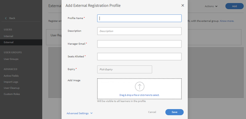 Adobe Captivate's tool for adding external registrations.