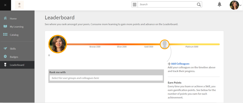 A leaderboard in Captivate Prime.