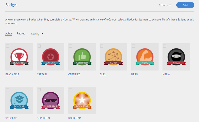 Sample badges in Captivate Prime.