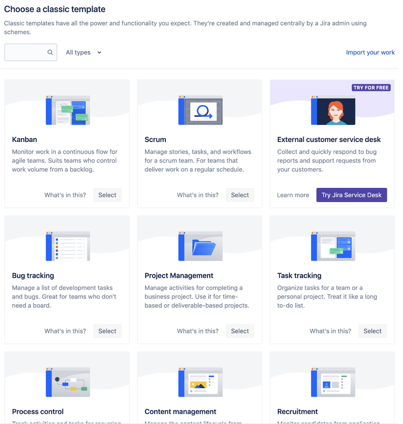 Jira supports various types of work
