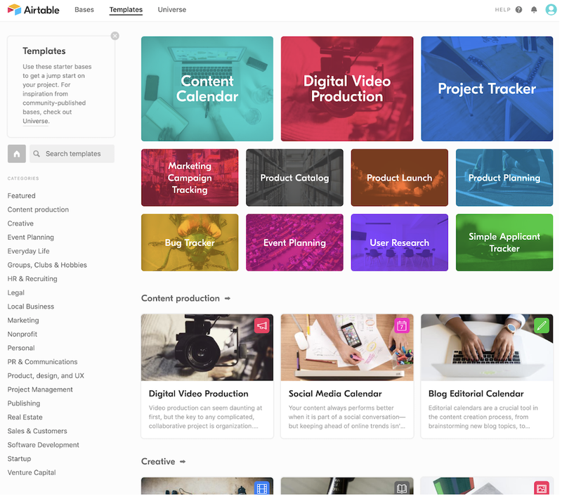Airtable's project templates are organized in categories such as content production and marketing and include product launch, product catalog, and bug tracker projects.