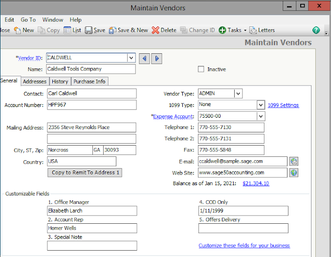 The Maintain Vendors screen in Sage 50cloud Accounting with fields for tracking data.