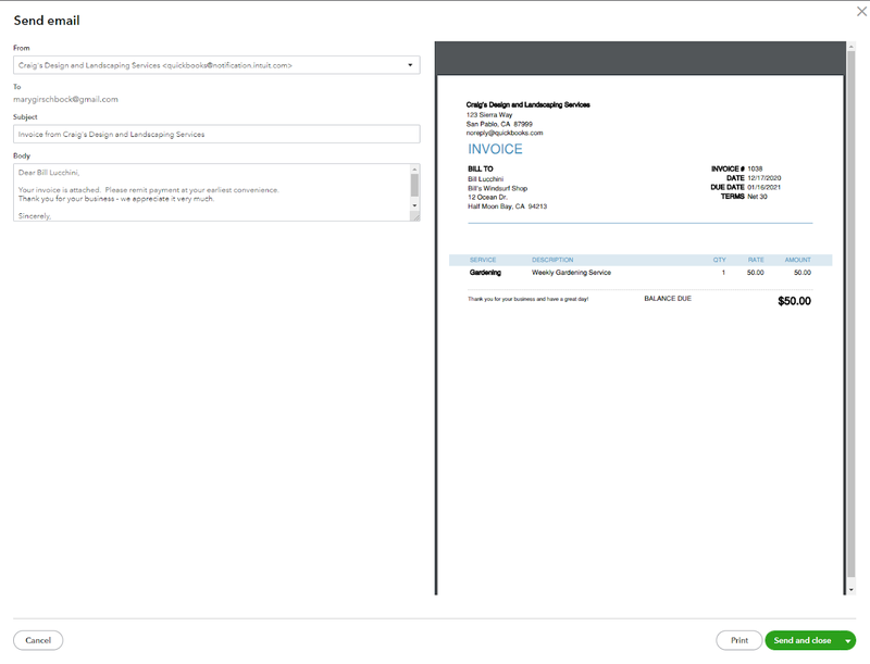 QuickBooks Online's email message and invoice.