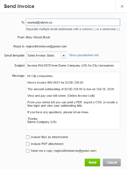 Xero's Send Invoice screen with email address, message, and other options.