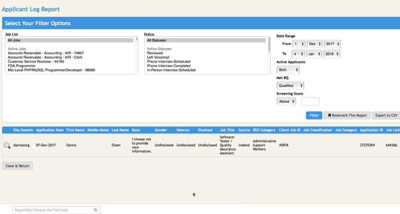 ApplicantPro's Applicant Log Report