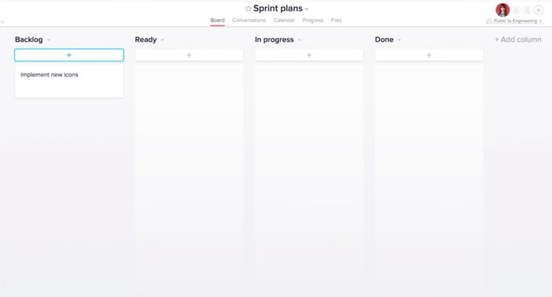 Asana sprint planning kanban board with four columns.