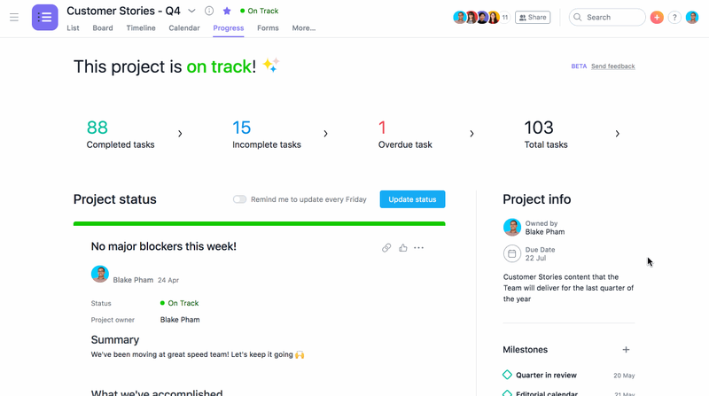 Asana's project progress tab