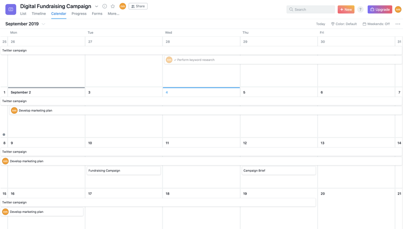 Asana team calendar for the month of September with no tasks on it