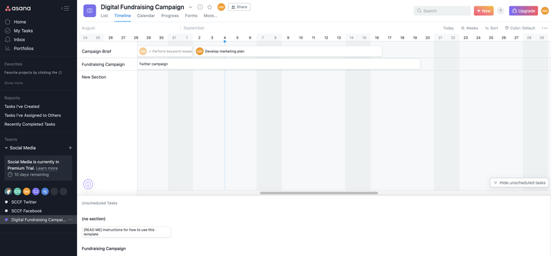 Asana gantt timeline chart with 3 sample tasks