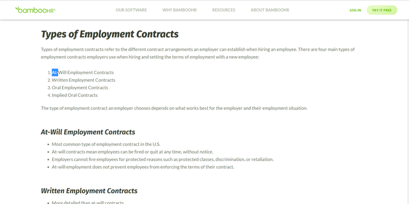 BambooHR landing page showing a reference guide to employee contracts including at-will employment contracts.