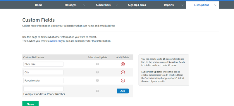 AWeber option to add custom subscriber information of your choice