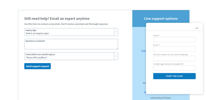 AWeber customer support form including fields for issue type, question, and email address for a reply