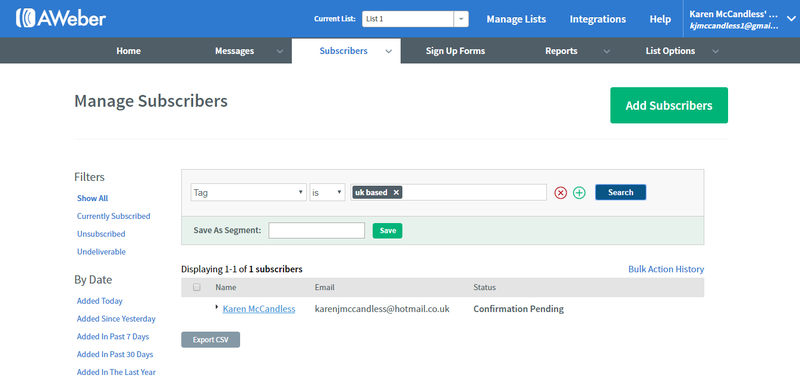 AWeber manage subscribers dashboard where you can view status of subscription