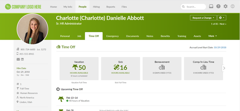 BambooHR page showing individual employee information including personal information, time off tracking data, etc.
