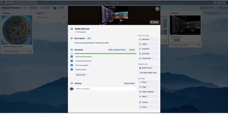 A screenshot of Trello's window-in-window setup for task cards.
