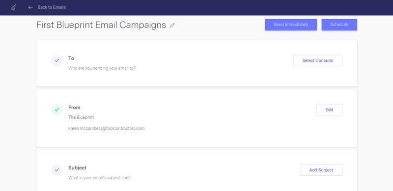 Benchmark Email editor with field for who you're sending the email to, who it's from, and the subject line
