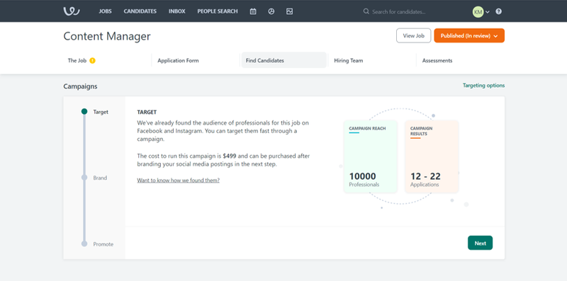 Workable screen showing you how to create a targeted sourcing campaign.
