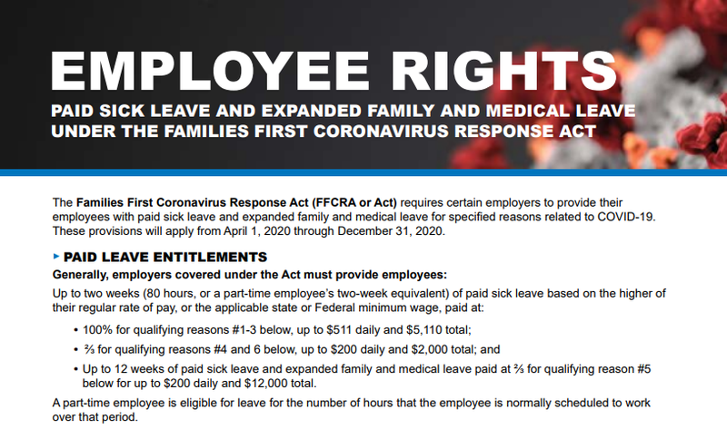 Screenshot of the DOL poster for employee rights under the FFCRA.
