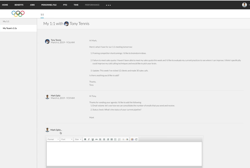 Screenshot of BerniePortal's meetings and communication section for ongoing discussions about performance metrics.