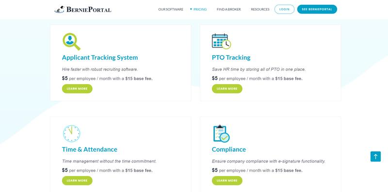 A screenshot of  BerniePortal's pricing per module.