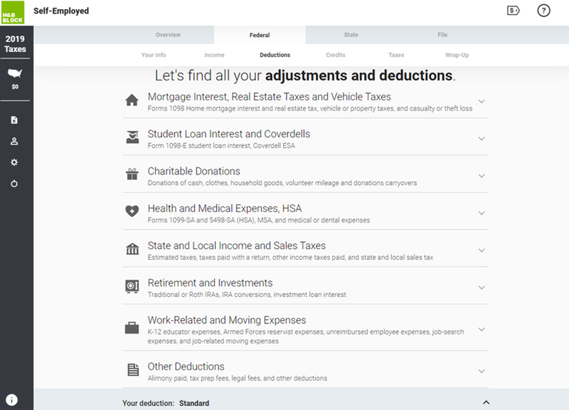 Screenshot of H&R Block tax software for self-employed individuals.