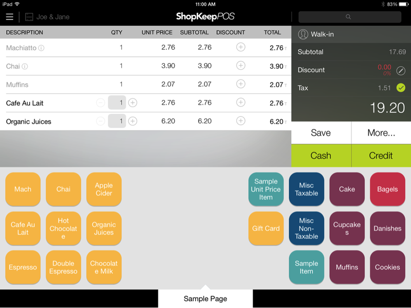 ShopKeep's interface