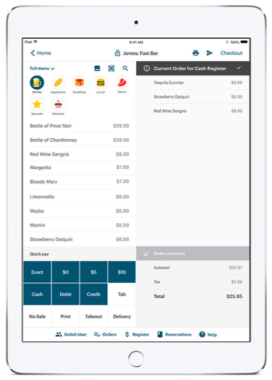 TouchBistro's iPad bar POS system