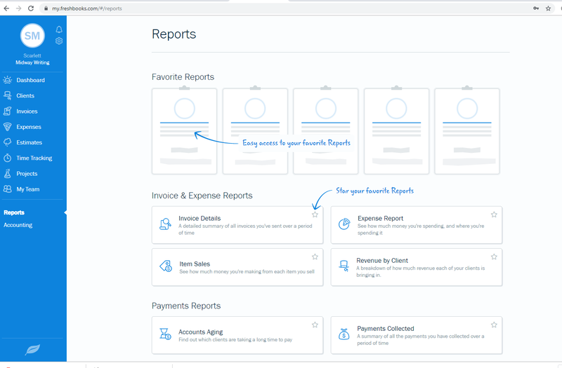 FreshBooks create report feature