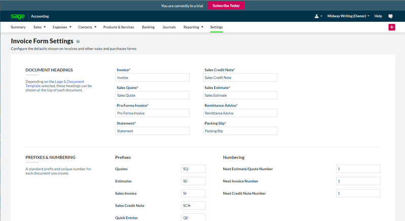 Sage Business Cloud Accounting Invoice Form Settings feature
