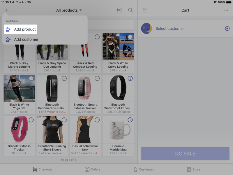The Shopify POS interface can add new items and new customers and show inventory levels, all on one screen.