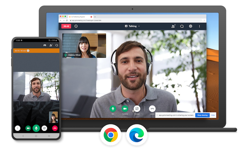 GoToMeeting's desktop and mobile interface