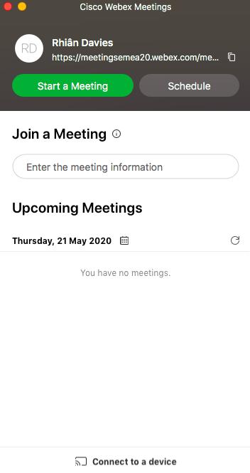 Webex Meetings desktop interface