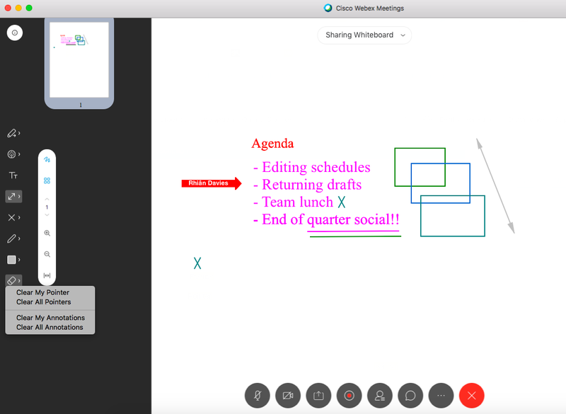 Webex Meetings' drawing tool